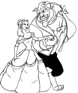 Beauty and the Beast coloring pages online
