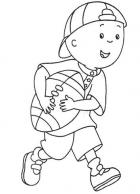 Caillou Plays Football Coloring