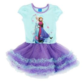 Disney Frozen Short Sleeve Shimmer Mesh Tutu Dress