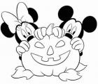 Halloween Minnie and Mickey coloring page