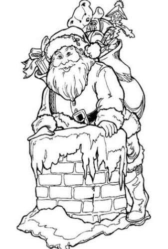 Santa Claus Goes Down The Chimney Printable