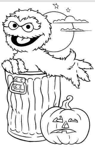 Sesame Street Oscar Halloween Coloring Pages