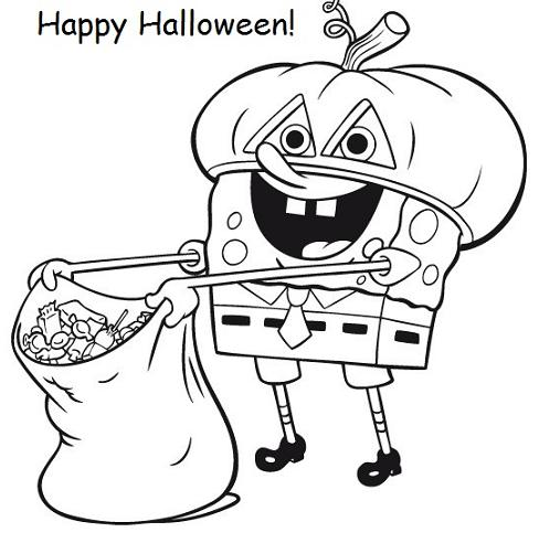 Spongebob Halloween Coloring Pages.