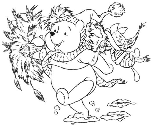 winnie christmas coloring pages picture 1