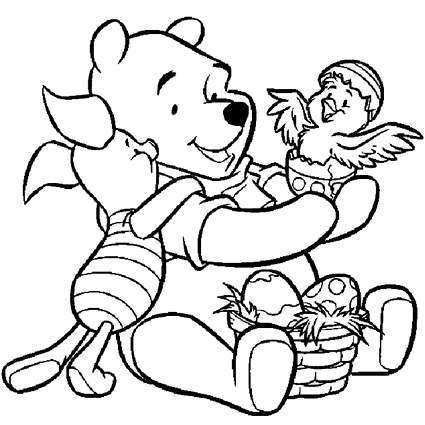 Winnie the Pooh Easter Coloring Pages with Piglet